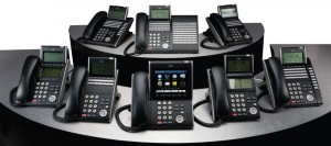 Bank of office phones
