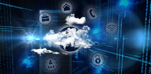 Illustration of cloud computing running software and phone systems