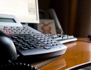 Close up of office phone on a desk